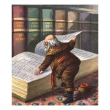 Illustration of Santa Claus Checking His List of Good Children Lámina giclée
