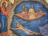 Greek Orthodox Fresco Depicting The Miracle of the Fish Photographic Print by Julian Kumar