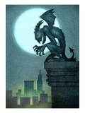Gargoyle on ledge Giclee Print by Harry Briggs