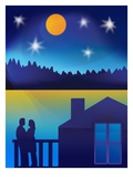 Couple on Deck Under Starry Sky Giclee Print