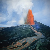 Lava fountain in Pu'u O'o Vent on Kilauea Volcano Photographic Print by Douglas Peebles