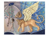 Illustration of a Child and a Winged Lion by Alexandra Day Giclee Print by Alexandra Day