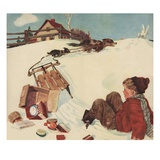 Illustration of Boy and Groceries Falling Off Sled Reproduction procédé giclée