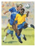 Two men playing soccer Giclee Print by David Barnet