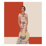 Magazine Illustration of Woman Wearing Striped Dress by Dynevor Rhys Giclee Print