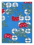 Illustration of White Lanterns and Peonies on Blue Background Giclee Print