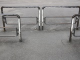 Pedestrian Barriers on Pavement Photographic Print by Jim Vecchi
