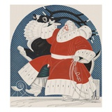 Magazine Illustration of Stylized Santa with Reindeer Lámina giclée