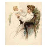 Illustration of a Mother and Infant Giclee Print