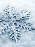 Snowflake Shaped Christmas Ornament Lying in the Snow Photographie