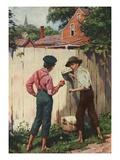 Illustration of Tom Sawyer Whitewashing a Fence by Worth Brehm Giclee Print