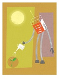 Robot watering a plant Giclee Print by Harry Briggs