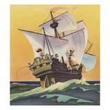 Illustration of Peter Pan and the Darling Children at Sea by Roy Best Giclee Print by Roy Best