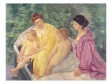 The Swim, or Two Mothers and Their Children on a Boat Giclee Print by Mary Cassatt
