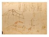 Drawing of Flying Machine with Beating Wings by Leonardo da Vinci Giclee Print