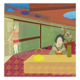 Woman Eating Rice with Chopsticks Giclée-Druck