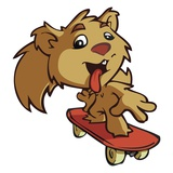 Squirrel on Skateboard Giclee Print by Sabet Brands