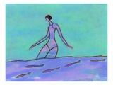 Woman Walking in the Water Giclee Print by Marie Bertrand