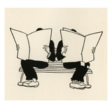 Illustration of Two Men Reading Newspapers on Park Bench by Boris Artzybasheff Giclee Print