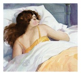 Illustration of Woman Sleeping on White Sheets Giclee Print