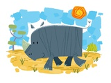 Smiling rhinoceros Giclee Print by Harry Briggs