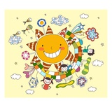 Children playing by sun Giclee Print