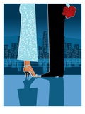 Romantic Couple in City Gicleetryck