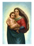 Postcard After Sistine Madonna Giclee Print by Raphael