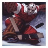 Goaltender Stopping a Puck in Hockey Giclee Print