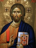 Christ Pantocrator Icon at Aghiou Pavlou Monastery on Mount Athos Fotografisk tryk af Julian Kumar