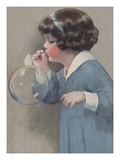 Illustration of Young Girl Blowing a Bubble by Bessie Pease Gutmann Giclee Print