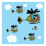 Monsters flying helicopters Lámina giclée por Sabet Brands