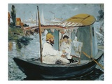 Claude Monet and His Wife in His Floating Studio Giclee Print by Edouard Manet