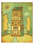 an apartment building in between two trees Giclee Print