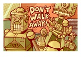 Robots in a verbal argument Giclee Print by Matthew Laznicka