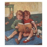 Illustration of Brother and Sister Reading Giclee Print