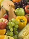 Close up of Fresh Fruits and Vegetables Lámina fotográfica