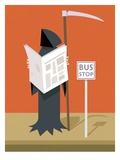 Death waiting at the bus stop Giclee Print by Harry Briggs