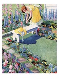 Illustration of Woman Gardening in Backyard Giclee Print