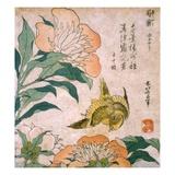 Peony and Canary Reproduction procédé giclée par Katsushika Hokusai