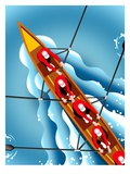 Men Rowing Canoe, Elevated View Giclee Print