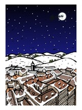 High angle view of snow covered houses in a town and silhouette of reindeers over moon in the sky a Giclee Print