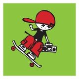 Skateboarder holding boom box Giclee Print by Sabet Brands