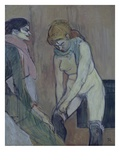 Woman Stretching Stockings Giclee Print by Henri de Toulouse-Lautrec