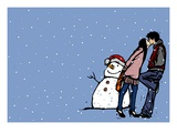 Side profile of a couple kissing each other near a snowman in snowing Giclee Print