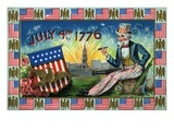 July 4th 1776 with Uncle Sam Giclee Print