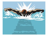 An Illustration of a Swimmer from a Head on Perspective Giclee Print