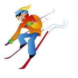 Freestyle Downhill Skiier Giclee Print