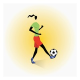 Woman Playing Soccer, Giclee Print