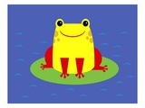 Cheerful frog sitting on lily pad Giclee Print